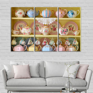 Teacups Display Multi Panel Canvas Wall Art - Kitchen