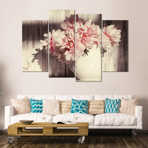 Beautiful Peonies Multi Panel Canvas Wall Art - Shabby_chic