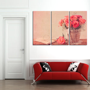 Vintage Roses Multi Panel Canvas Wall Art - Shabby_chic