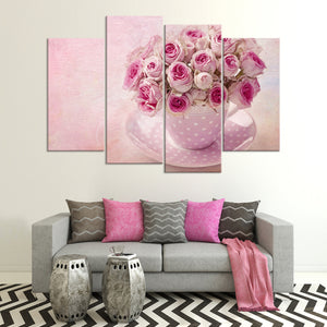 Cup Of Roses Multi Panel Canvas Wall Art - Flower