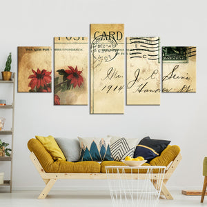 Antique Postcard Multi Panel Canvas Wall Art - Shabby_chic