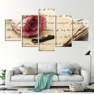 Vintage Love Letters Multi Panel Canvas Wall Art - Shabby_chic