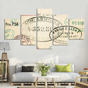 Vintage Stamps Multi Panel Canvas Wall Art - Shabby_chic