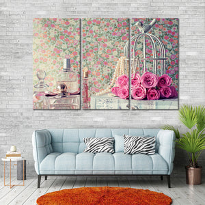 Rose Birdcage Multi Panel Canvas Wall Art - Shabby_chic