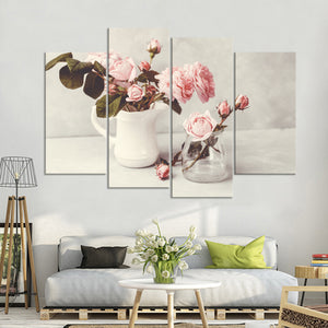 Romantic Pink Roses Multi Panel Canvas Wall Art - Flower