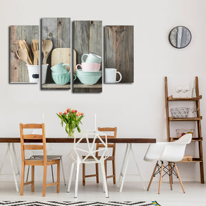 Shabby Chic Kitchen Multi Panel Canvas Wall Art - Kitchen