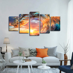 Shine Through The Wave Multi Panel Canvas Wall Art - Surfing