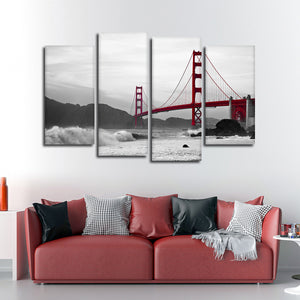 Shore At Golden Gate Bridge Pop Multi Panel Canvas Wall Art - City