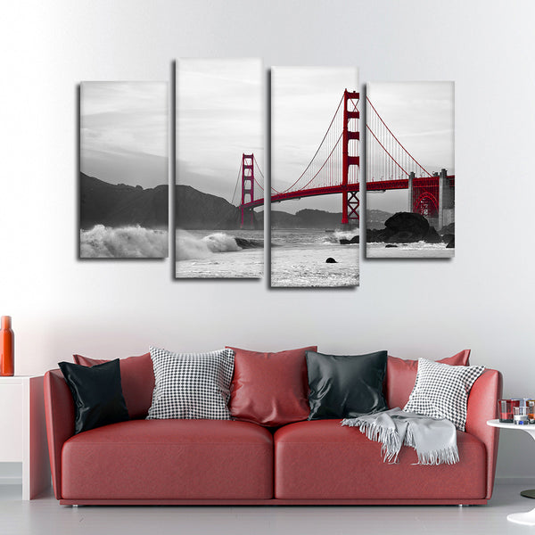 Shore At Golden Gate Bridge Pop Multi Panel Canvas Wall Art