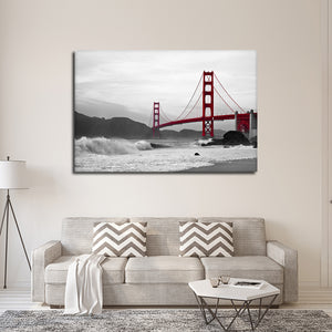 Shore At Golden Gate Bridge Pop Multi Panel Canvas Wall Art - Bridge