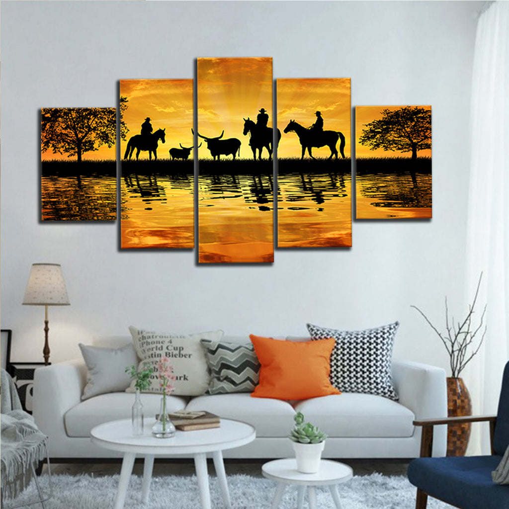 Silhouette Cowboys Multi Panel Canvas Wall Art Elephantstock