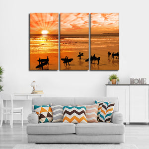 Silhouette Surfers Multi Panel Canvas Wall Art - Surfing
