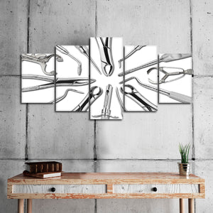 Silver Dental Tools Multi Panel Canvas Wall Art - Dental
