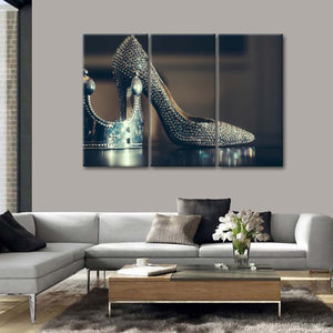 Silver High Heels Multi Panel Canvas Wall Art - Shoes