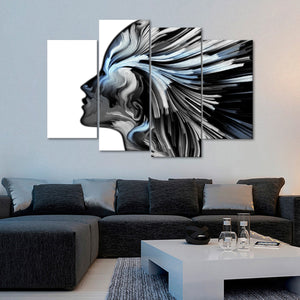 Silver Profile Colors Multi Panel Canvas Wall Art - Color