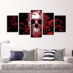 Silver Rose Skull Multi Panel Canvas Wall Art - Gothic