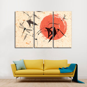 Simple Dragonfly Multi Panel Canvas Wall Art - Asian