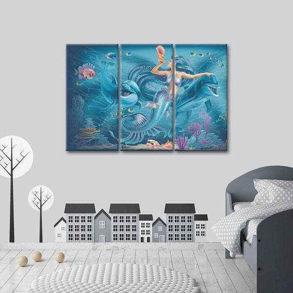 Singing Mermaid Cartoon Multi Panel Canvas Wall Art