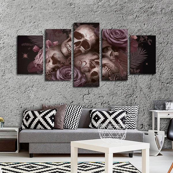 Skulls and Roses Multi Panel Canvas Wall Art
