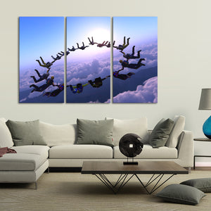 Sky Diving Multi Panel Canvas Wall Art - Diving