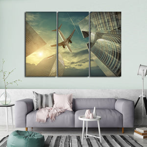 Skyscraper Flight Multi Panel Canvas Wall Art - Airplane