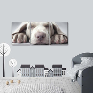 Sleeping Puppy Multi Panel Canvas Wall Art - Dog