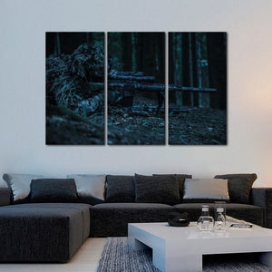 Sniper Multi Panel Canvas Wall Art - Army