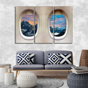 Snowy Mountain Window Seat Multi Panel Canvas Wall Art - Airplane