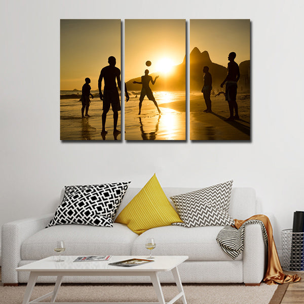 Soccer At Ipanema Beach Multi Panel Canvas Wall Art