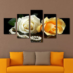 Soft Roses and Pearls Multi Panel Canvas Wall Art - Rose