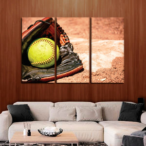 Softball League Multi Panel Canvas Wall Art - Softball
