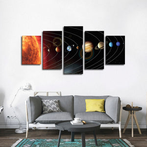 Solar System Multi Panel Canvas Wall Art - Astronomy
