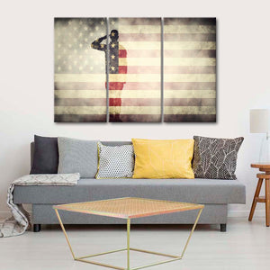Soldier Salute Multi Panel Canvas Wall Art - Army