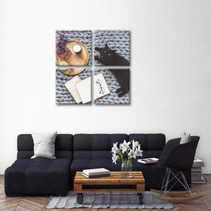 Solitude Cat Multi Panel Canvas Wall Art - Cat