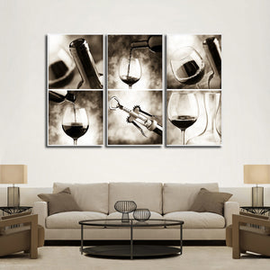Sommelier Multi Panel Canvas Wall Art - Winery