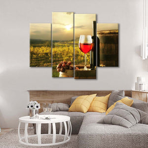 Sonoma County Evening Multi Panel Canvas Wall Art - Winery