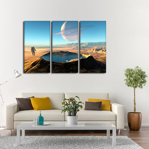 Space Crater Multi Panel Canvas Wall Art - Astronomy