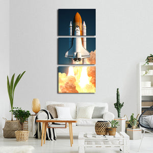 Space Shuttle Atlantis Multi Panel Canvas Wall Art - Astronomy