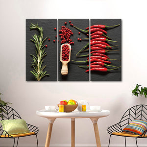 Spiced Up Multi Panel Canvas Wall Art - Kitchen