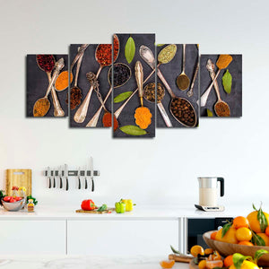 Spoonful Of Spices Multi Panel Canvas Wall Art - Kitchen