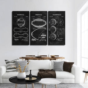 Sports Balls Patent Compilation BW Multi Panel Canvas Wall Art - Sport