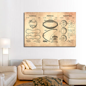 Sports Balls Patent Compilation Multi Panel Canvas Wall Art - Sport