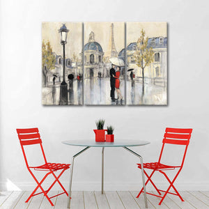 Spring Rain Paris Eiffel Multi Panel Canvas Wall Art - Paris