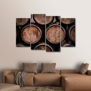 Stacked Wine Barrels Multi Panel Canvas Wall Art - Winery