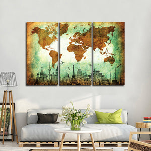 Stained World Map Masterpiece Multi Panel Canvas Wall Art - World_map