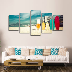 Standing Surfboards Multi Panel Canvas Wall Art - Surfing