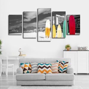 Standing Surfboards Pop Multi Panel Canvas Wall Art - Surfing