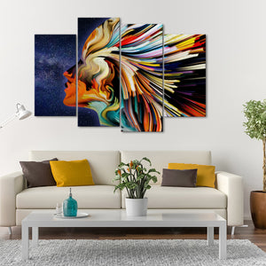 Star Profile Multi Panel Canvas Wall Art - Color