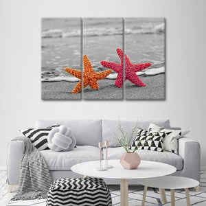 Starfish Pop Multi Panel Canvas Wall Art - Beach
