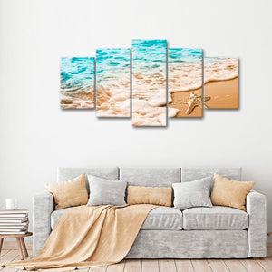 Starfish Tide Multi Panel Canvas Wall Art - Beach